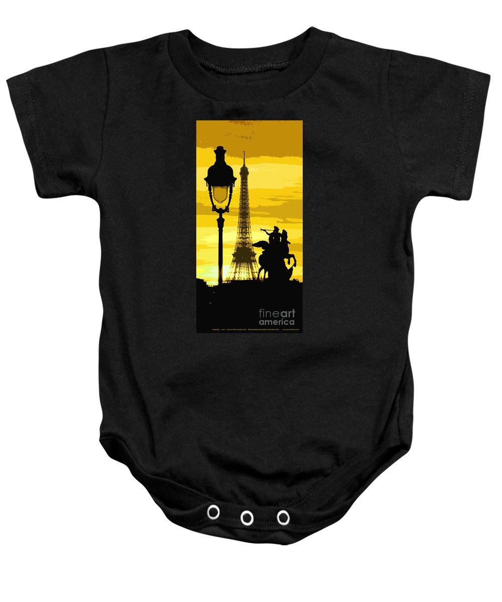 Paris Baby Onesie featuring the photograph Paris Tour Eiffel Yellow by Yuriy Shevchuk