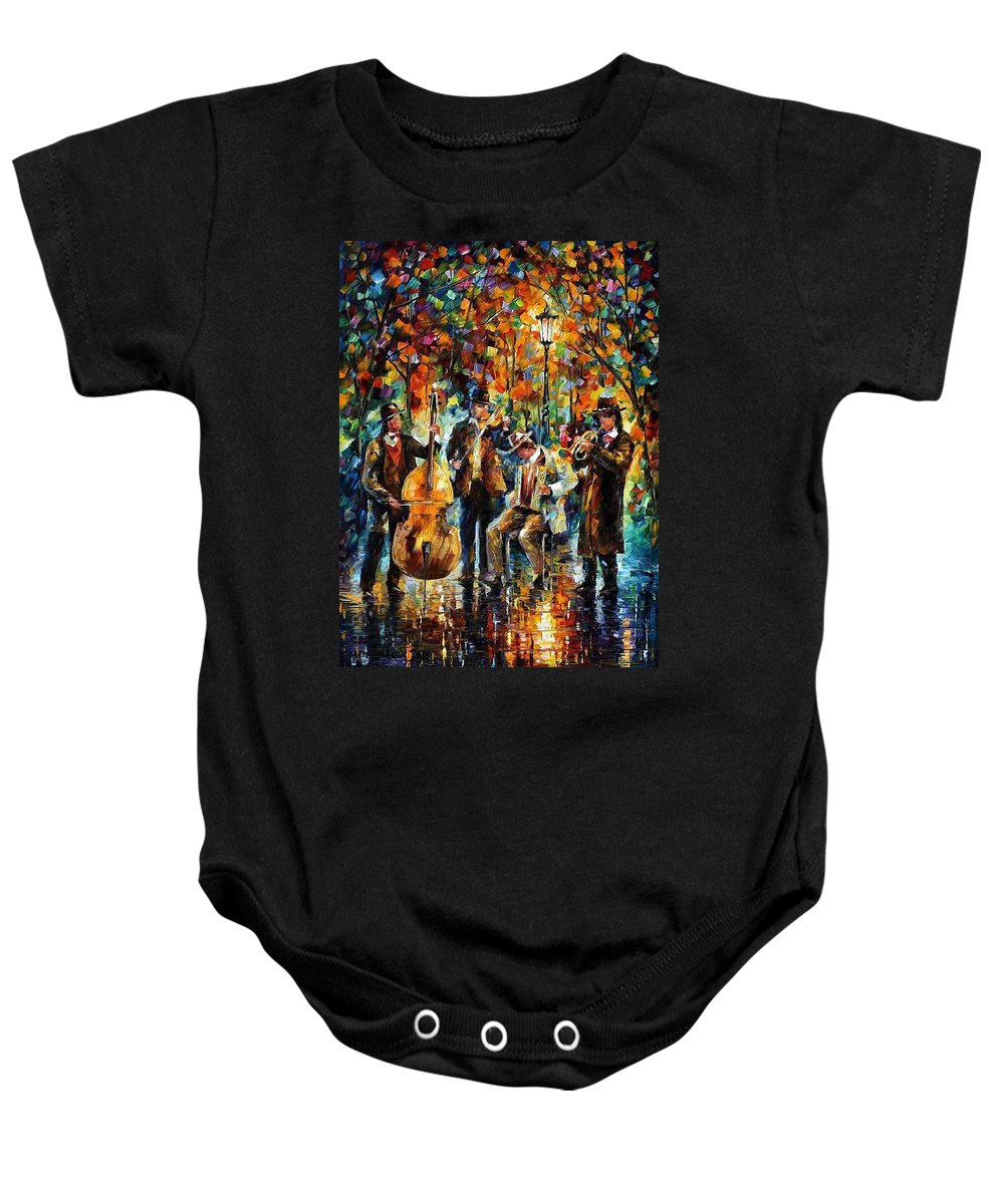 Afremov Baby Onesie featuring the painting Park Band by Leonid Afremov