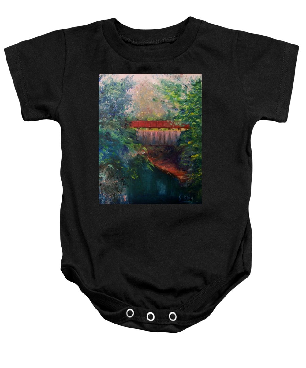Landscape Baby Onesie featuring the painting Parke County by Stephen King