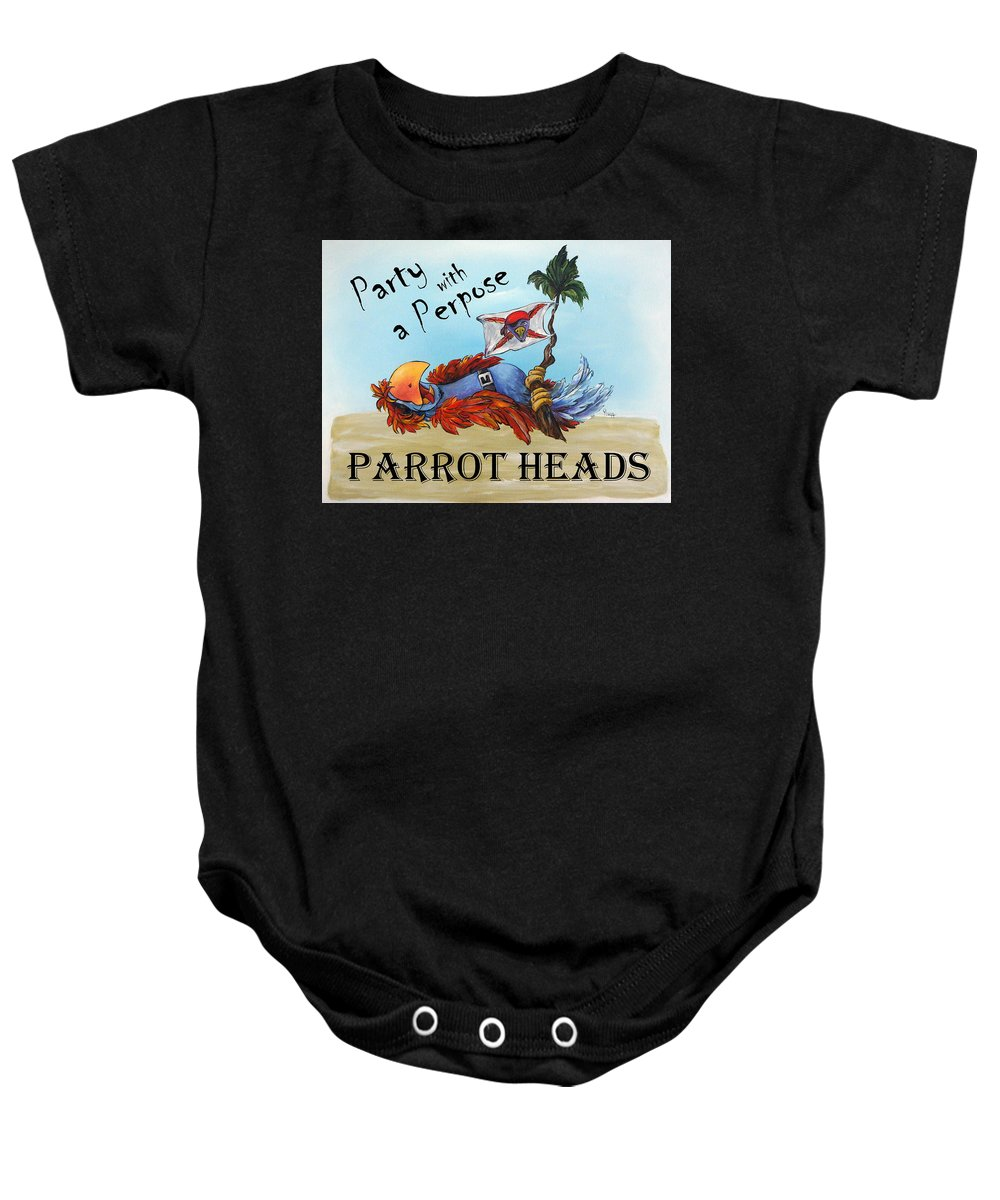 Parrot Baby Onesie featuring the painting Parrot Heads by Janette Legg