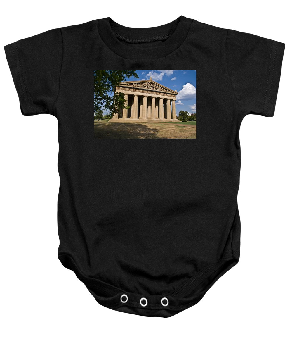 Parthenon Baby Onesie featuring the photograph Parthenon Nashville Tennessee by Douglas Barnett