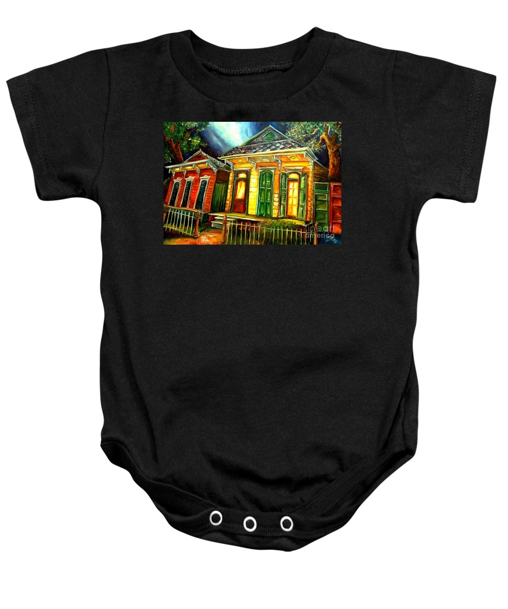 New Orleans Baby Onesie featuring the painting Partners by Diane Millsap