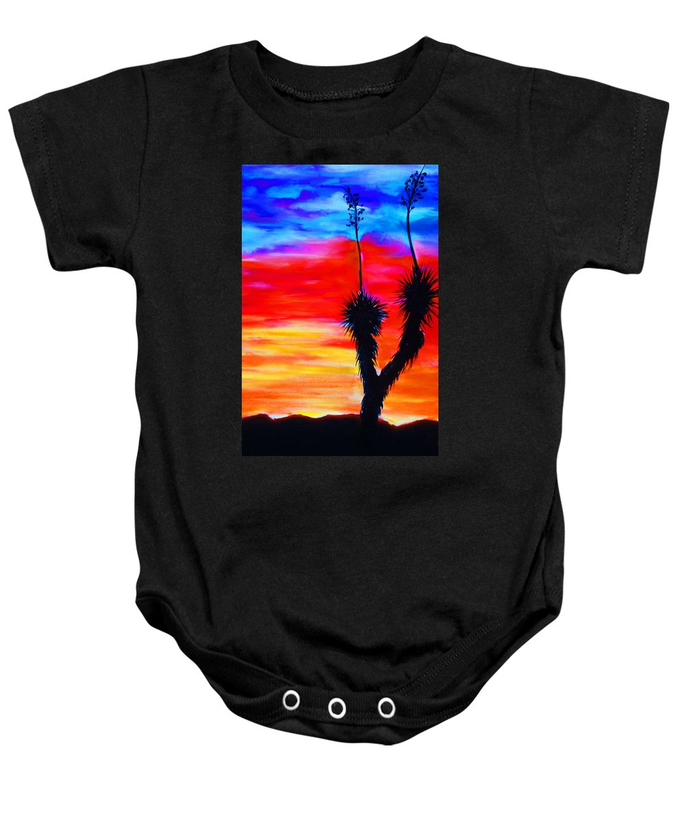 Sunset Baby Onesie featuring the painting Paso Del Norte Sunset 1 by Melinda Etzold