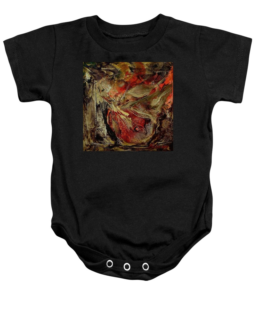 Abstract Baby Onesie featuring the painting Passion  by Rome Matikonyte