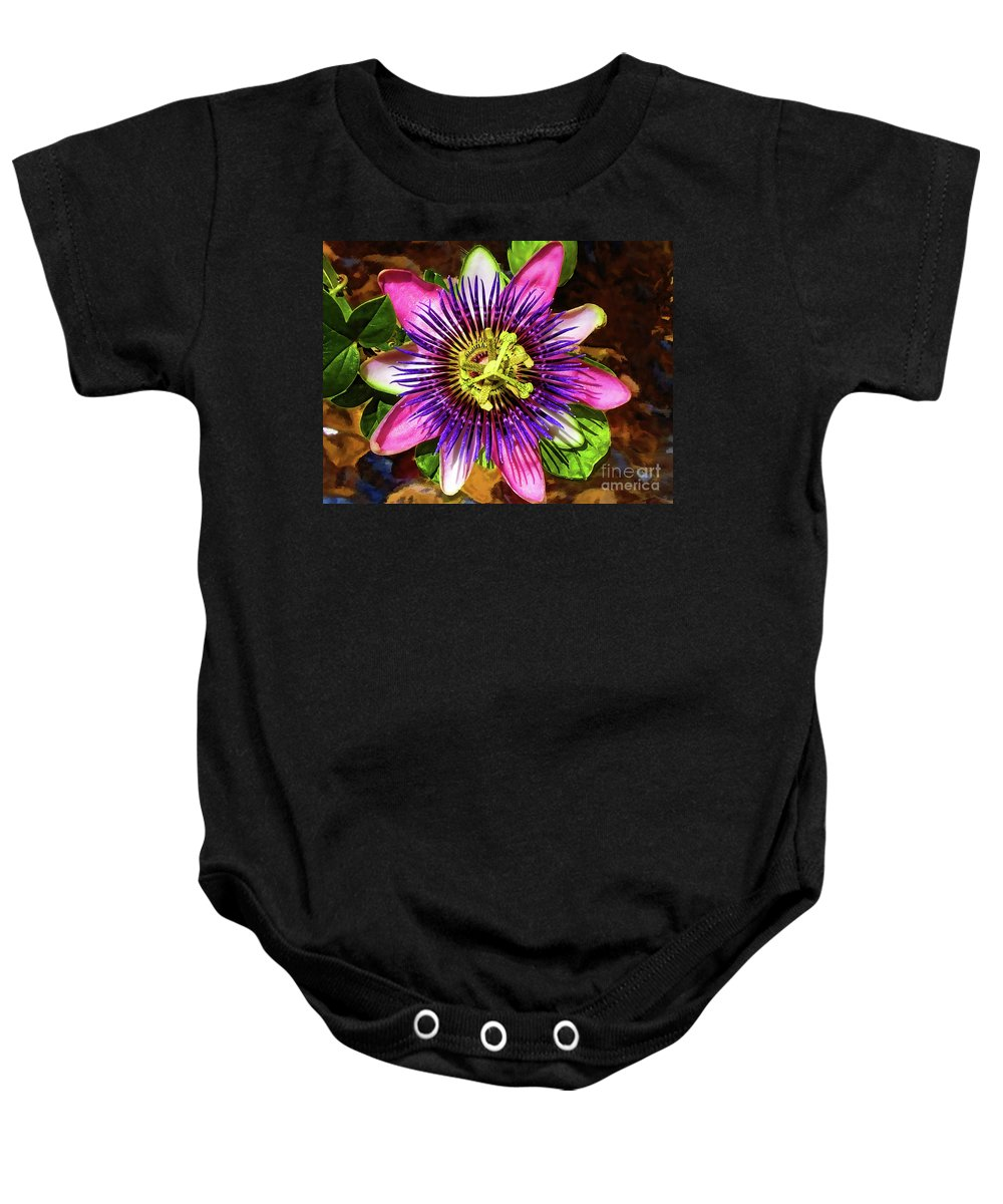 Unusual Lavender Flower Baby Onesie featuring the photograph Passion Flower by Mariola Bitner