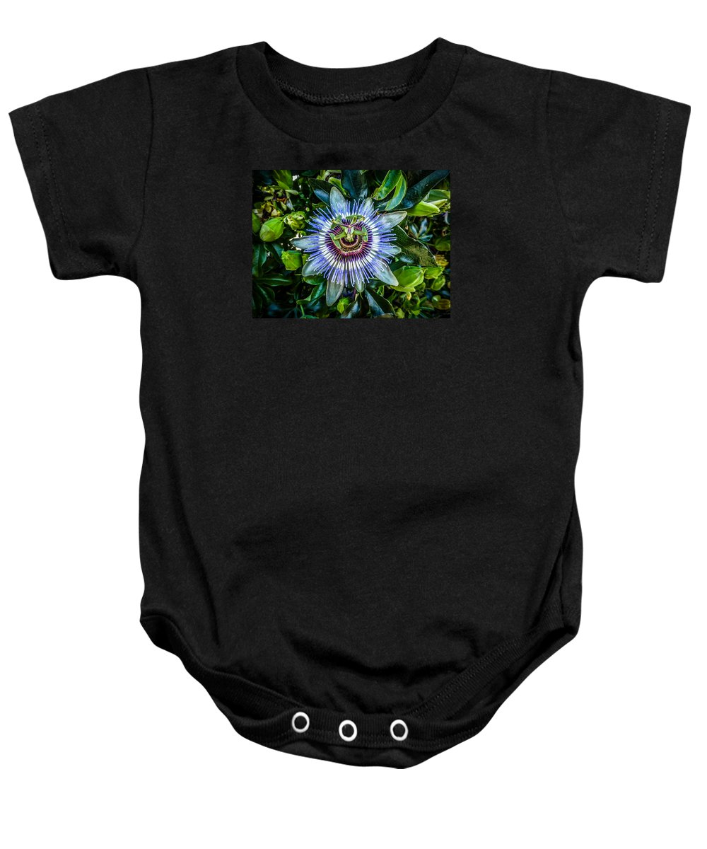 Passion Flower Baby Onesie featuring the photograph Passion Flower by Pamela Newcomb