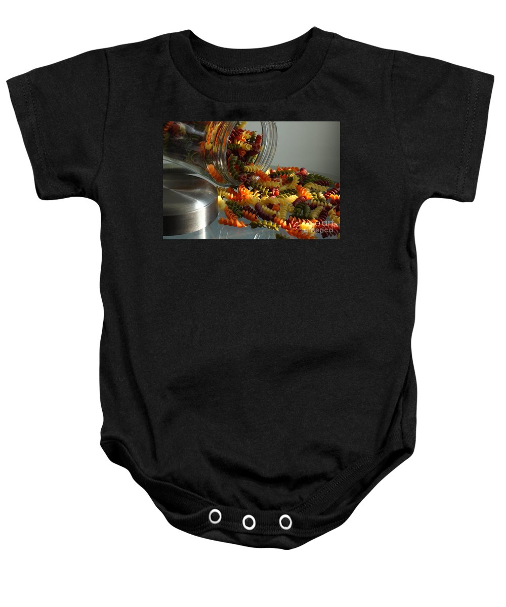 Food Baby Onesie featuring the photograph Pasta Spillage by Robert Frederick