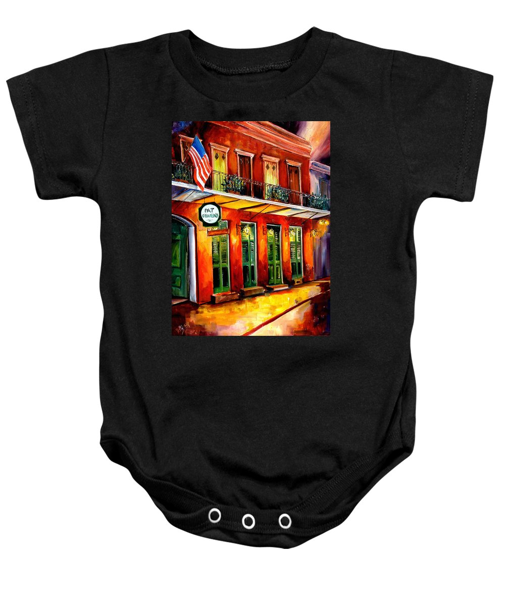 New Orleans Paintings Baby Onesie featuring the painting Pat O Briens Bar by Diane Millsap