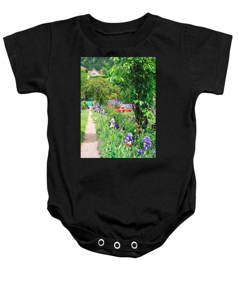 Claude Monet Baby Onesie featuring the photograph Path To Monet's House by Nadine Rippelmeyer