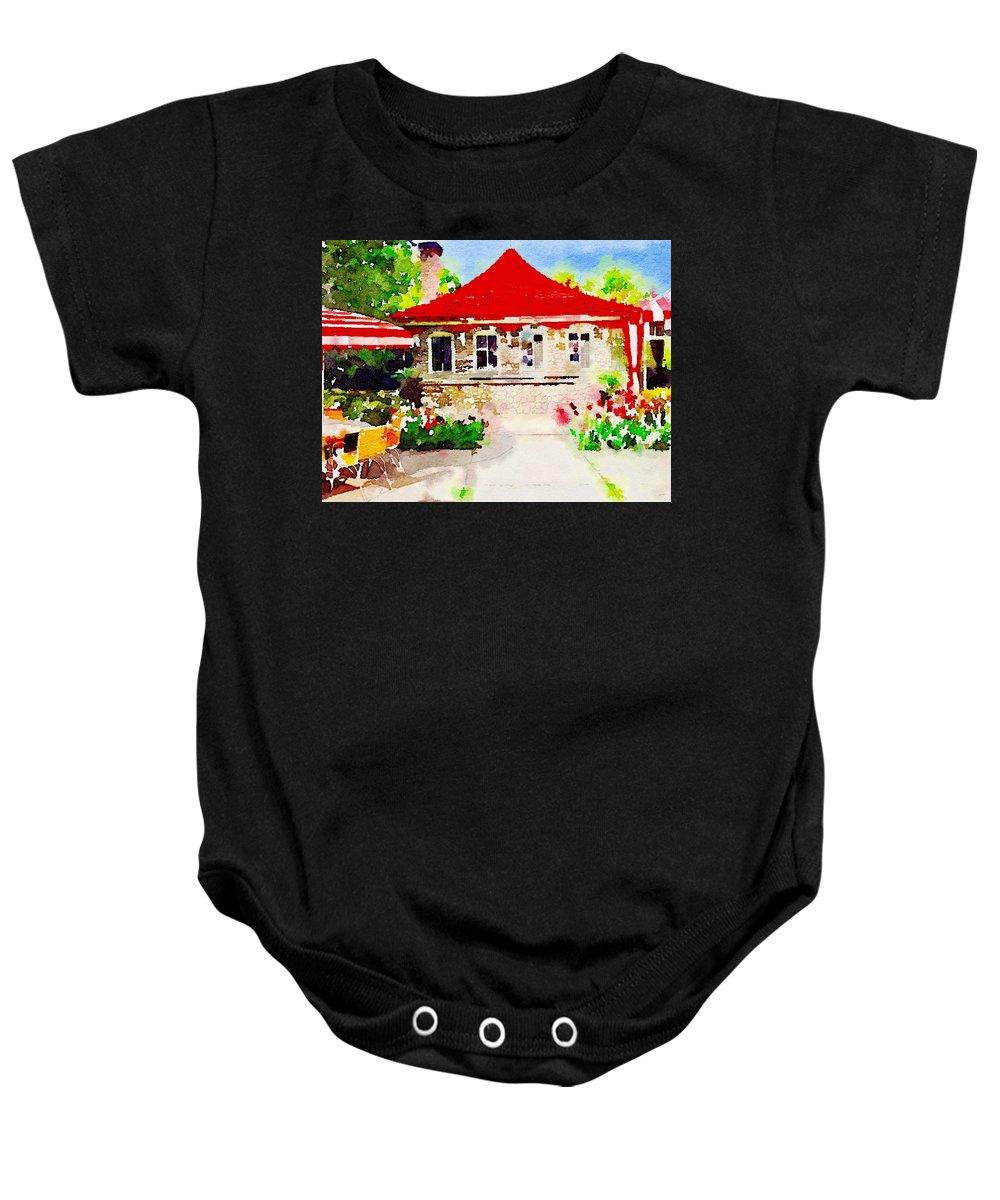 Mackinac Island Baby Onesie featuring the digital art Patio, Grand Hotel by Wendy Biro-Pollard