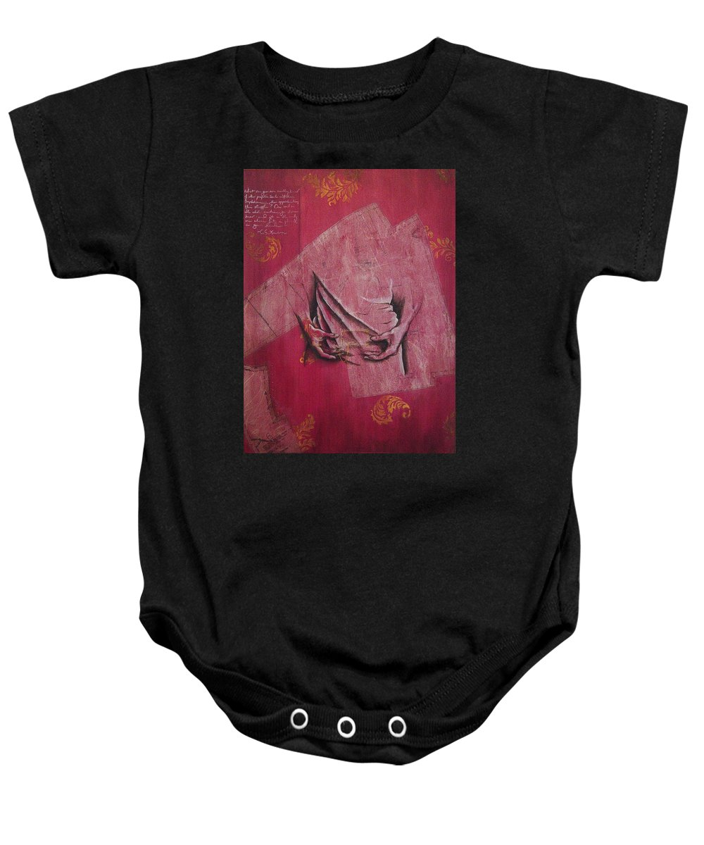 Hands Baby Onesie featuring the painting Pattern Pieces by Rowena Finn