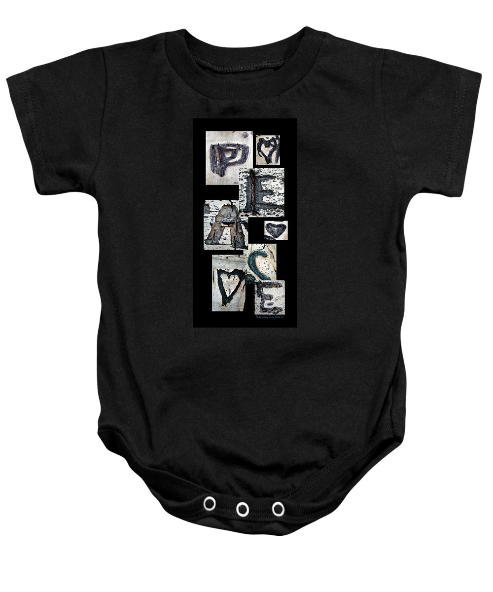 Photo Baby Onesie featuring the photograph Peace Written In The Trees 3 by Tamara Kulish