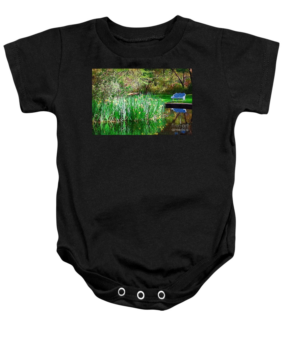 Pond Baby Onesie featuring the photograph Peaceful by Donna Bentley