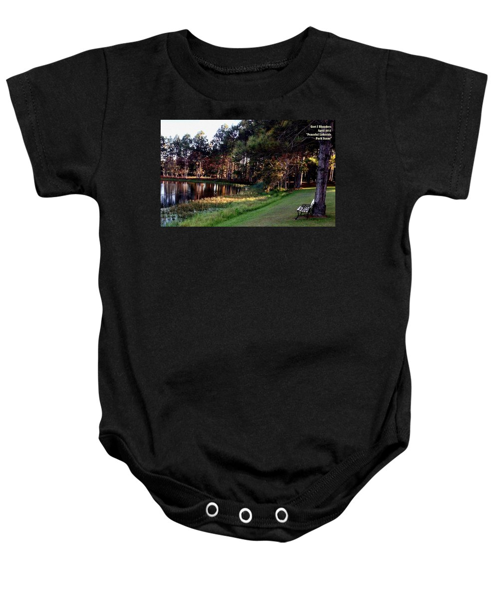 Announcement Baby Onesie featuring the painting Peaceful Lakeside Park Scene H A by Gert J Rheeders