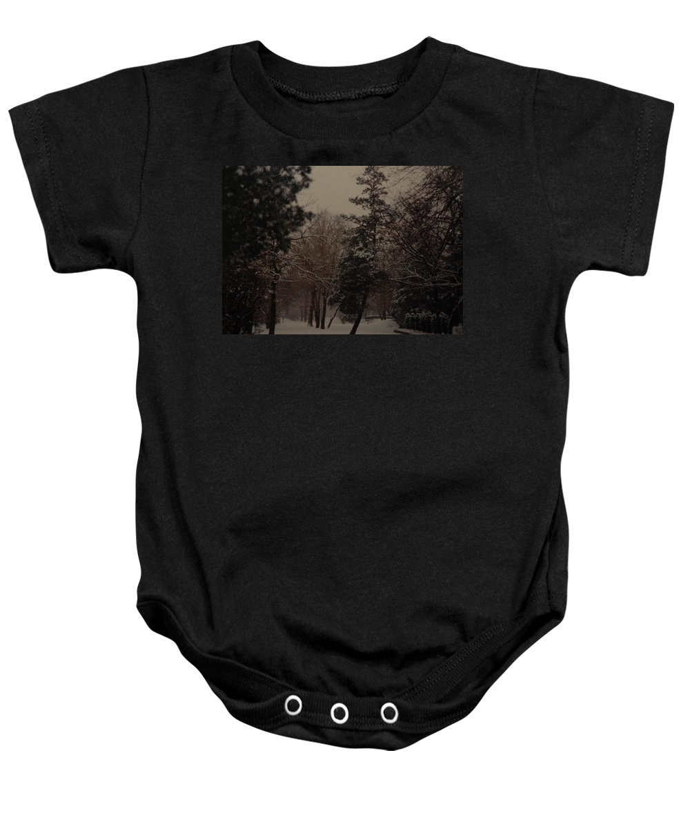 Lights Baby Onesie featuring the photograph Peaceful Snow Dusk by Rob Hans