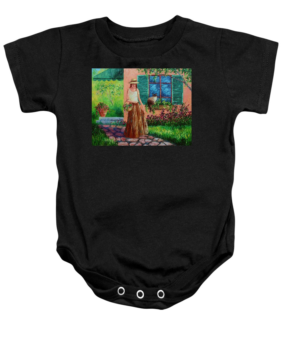 Woman Baby Onesie featuring the painting Peaceful Thoughts by David G Paul