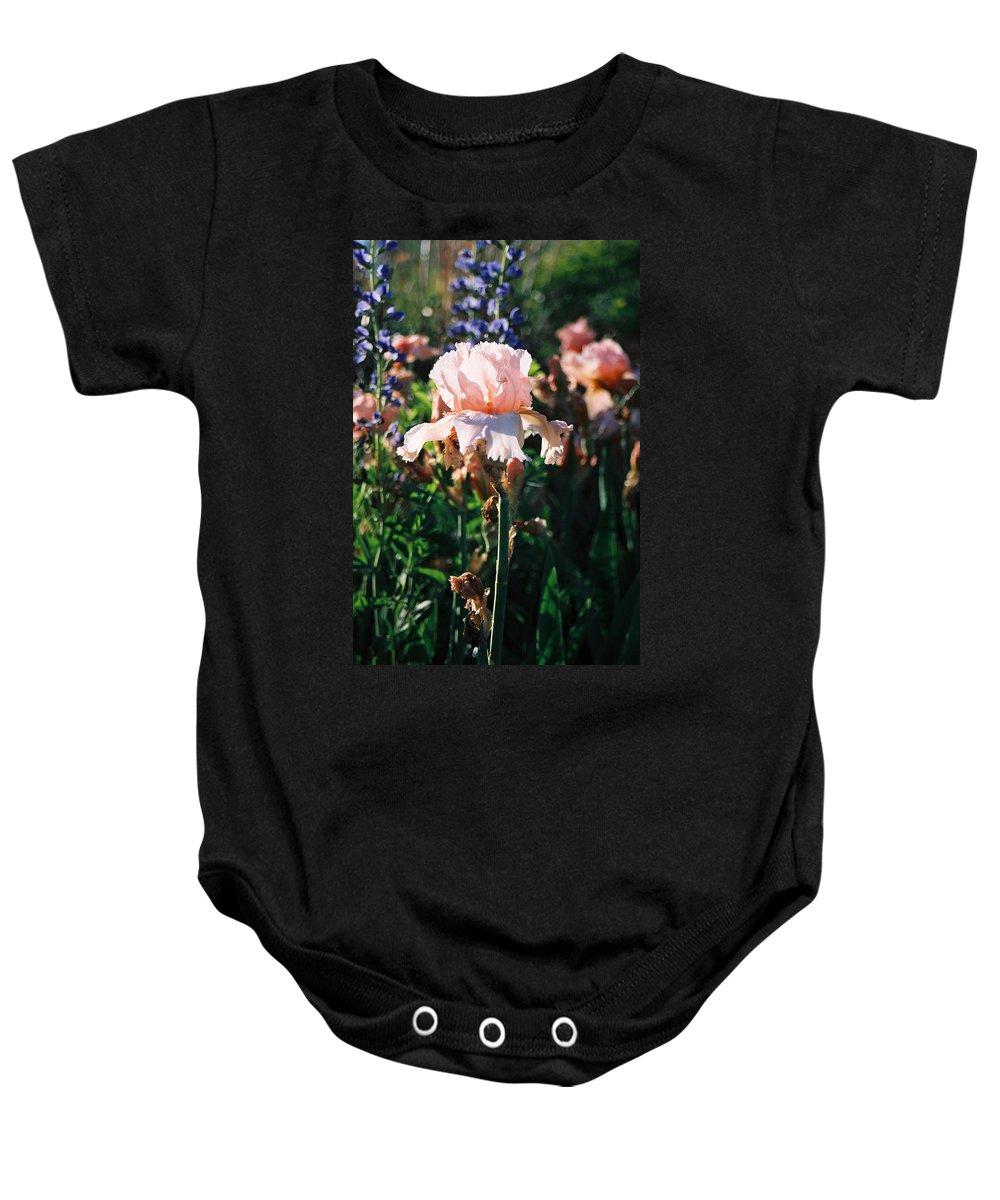 Flower Baby Onesie featuring the photograph Peach Iris by Steve Karol
