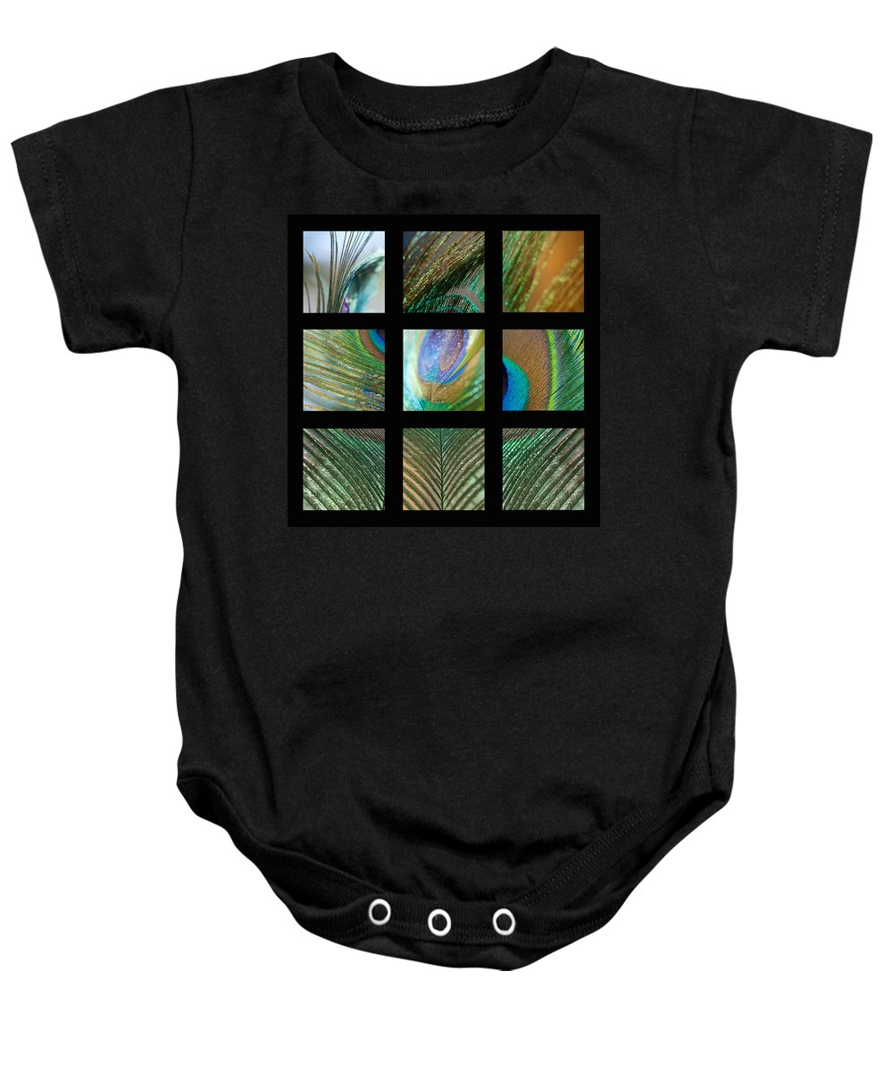 Mosaic Baby Onesie featuring the photograph Peacock Feather Mosaic by Lisa Knechtel