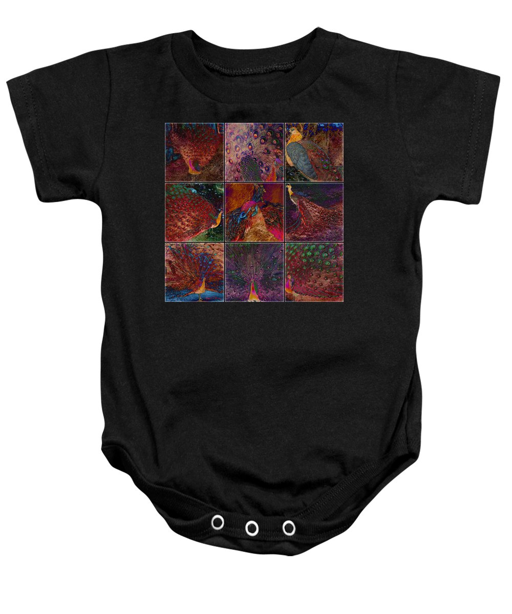 Birds Baby Onesie featuring the digital art Peacocks by Barbara Berney