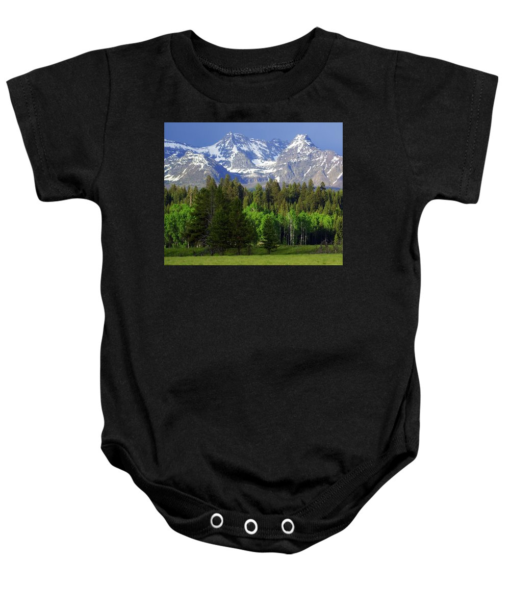Mountains Baby Onesie featuring the photograph Peaks by Marty Koch