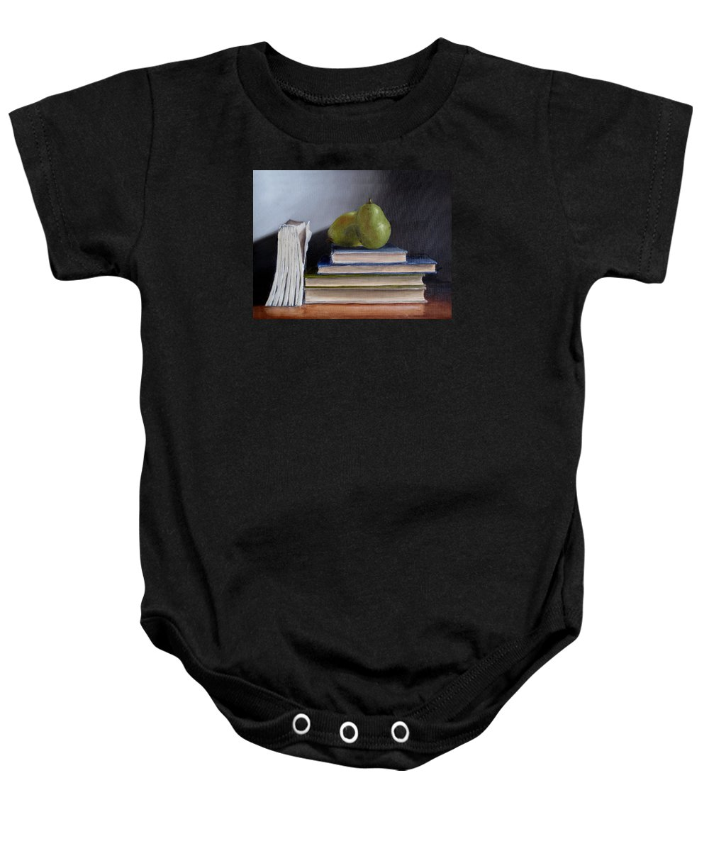Still-life Baby Onesie featuring the painting Pears And Books by Jeannette Scranton