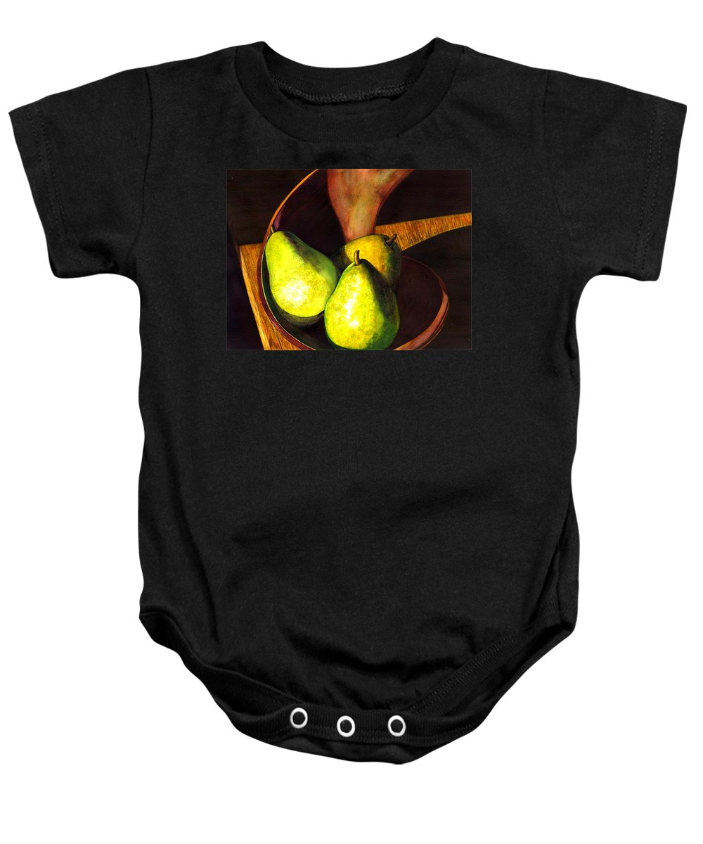Still Life Baby Onesie featuring the painting Pears No 1 by Catherine G McElroy