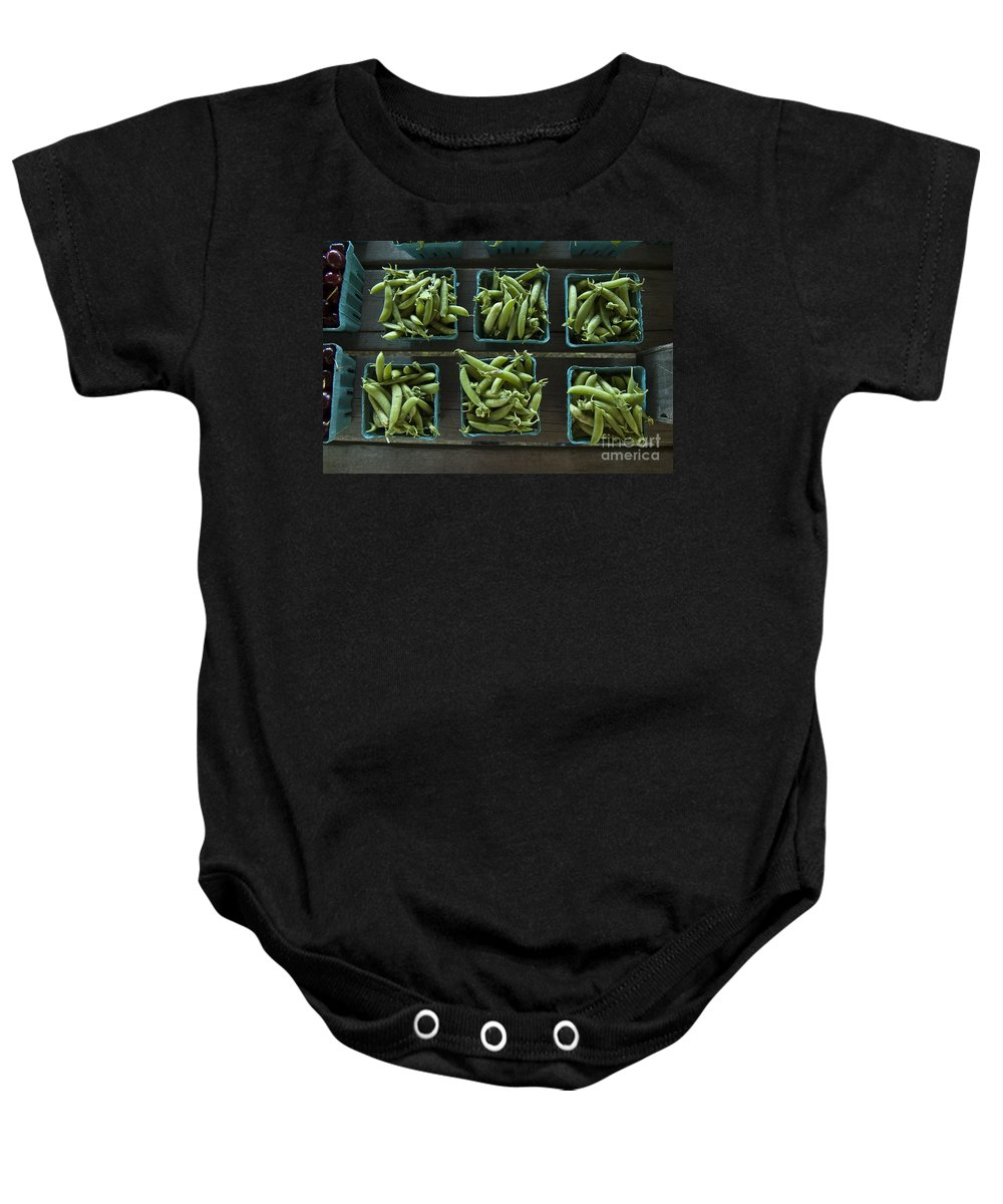 Pea Baby Onesie featuring the photograph Peas by Steven Dunn