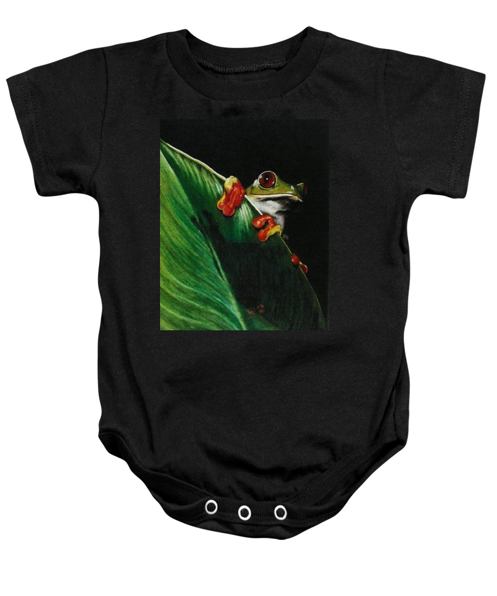Frog Baby Onesie featuring the drawing Peek-A-Boo by Barbara Keith