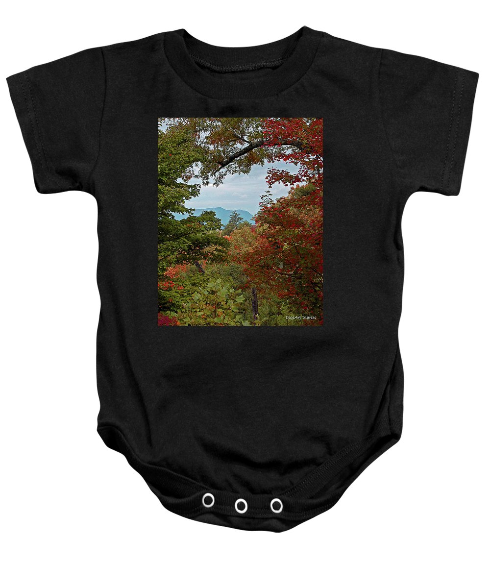 Mountains Baby Onesie featuring the digital art Peeking At The Smokies by DigiArt Diaries by Vicky B Fuller