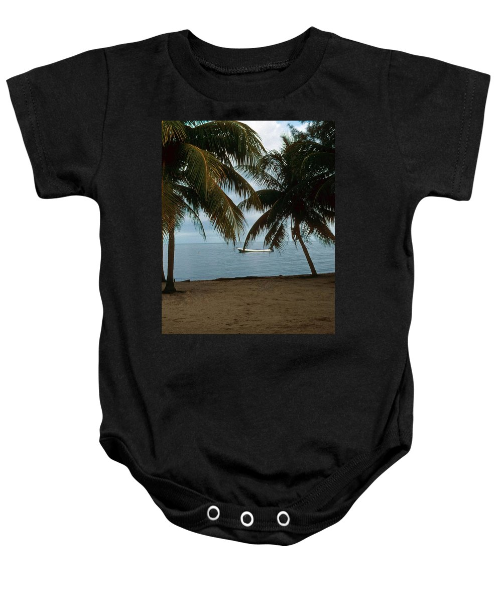 Blue Sky Baby Onesie featuring the photograph Pelican Beach Belize by Gary Wonning