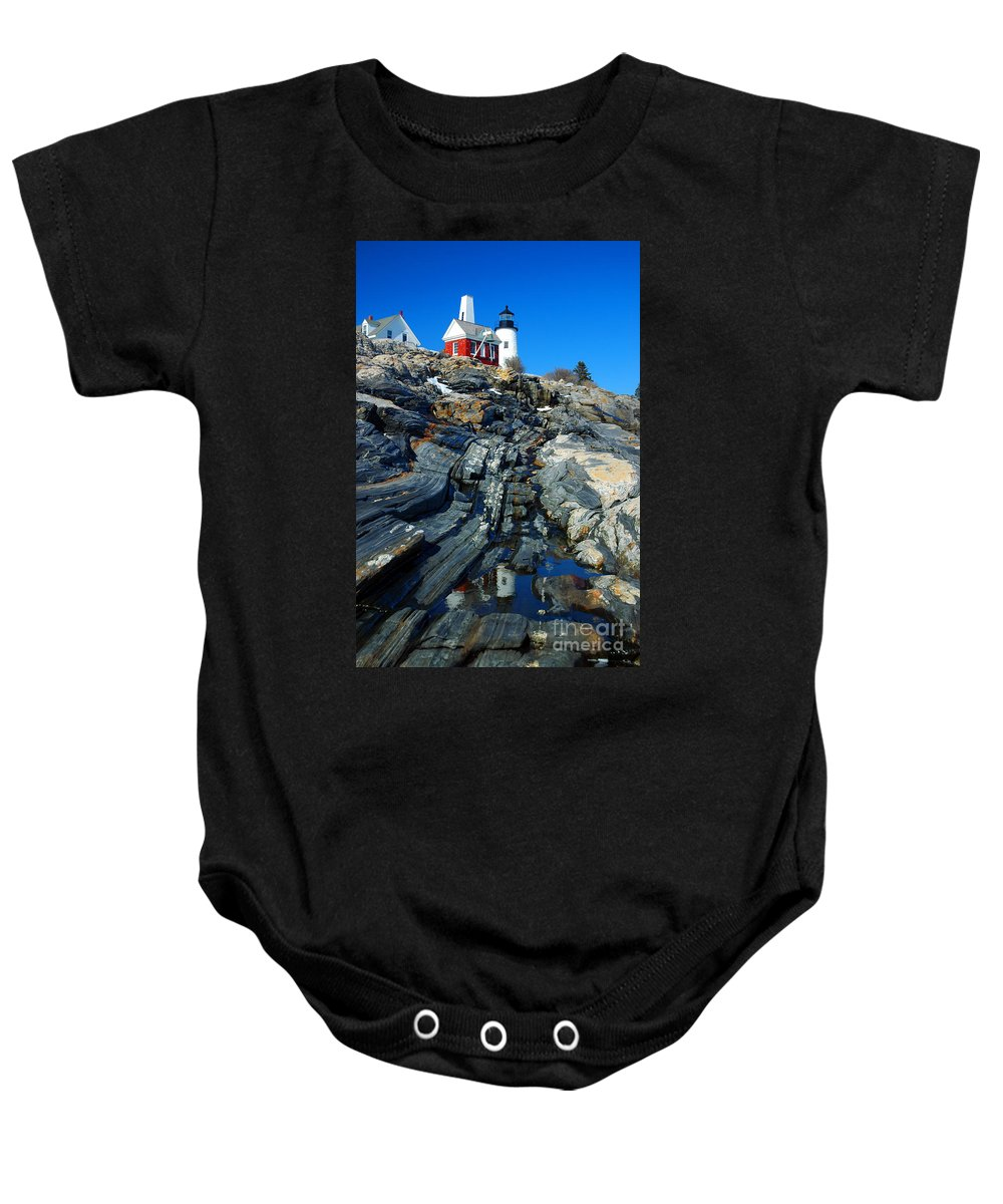 Coastline Baby Onesie featuring the photograph Pemaquid Point Lighthouse Reflection - Seascape Landscape Rocky Coast Maine by Jon Holiday