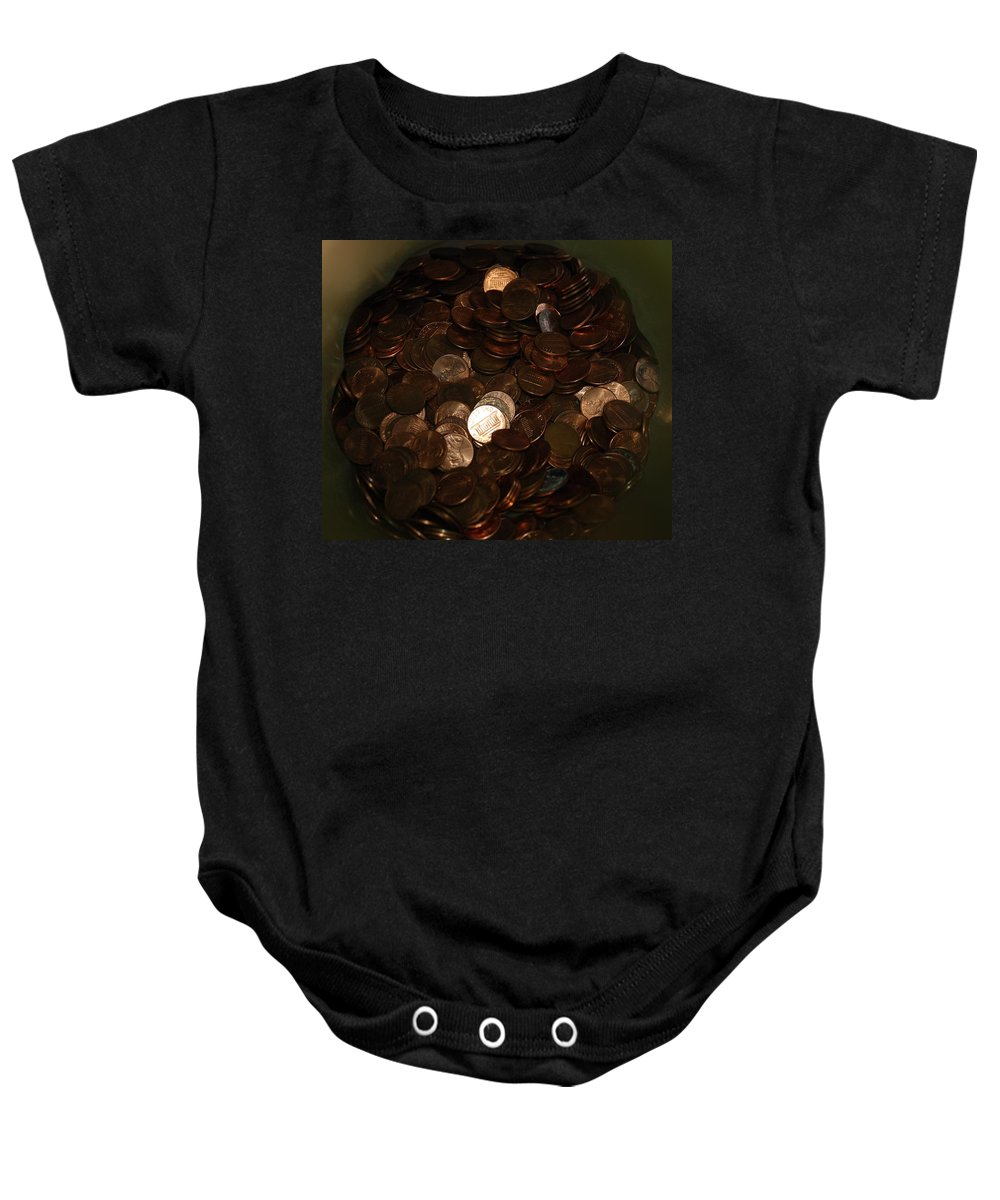 Pennies Baby Onesie featuring the photograph Pennies by Rob Hans