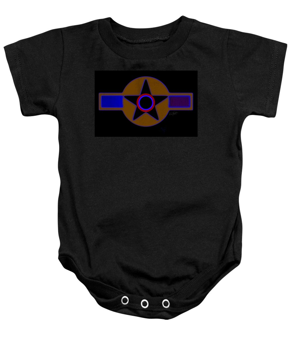 Usaaf Baby Onesie featuring the painting Pentagram by Charles Stuart