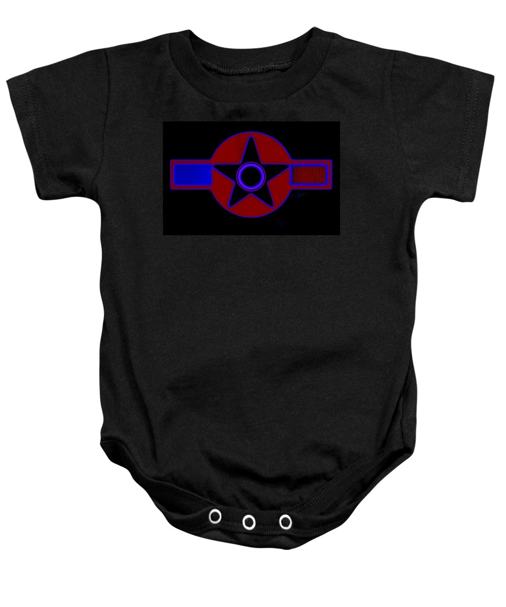 Usaaf Baby Onesie featuring the painting Pentagram In Red by Charles Stuart
