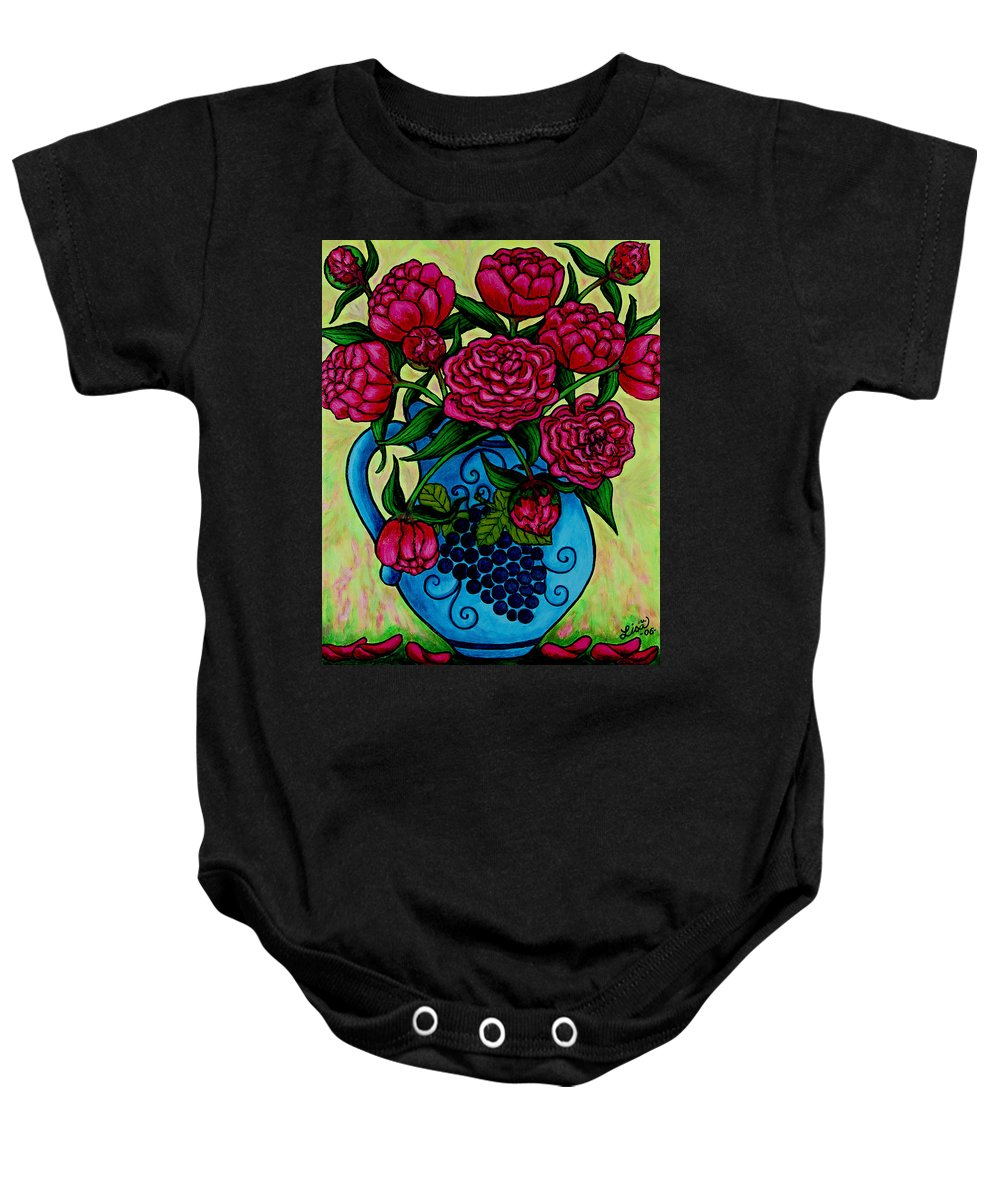 Peonies Baby Onesie featuring the painting Peony Party by Lisa Lorenz