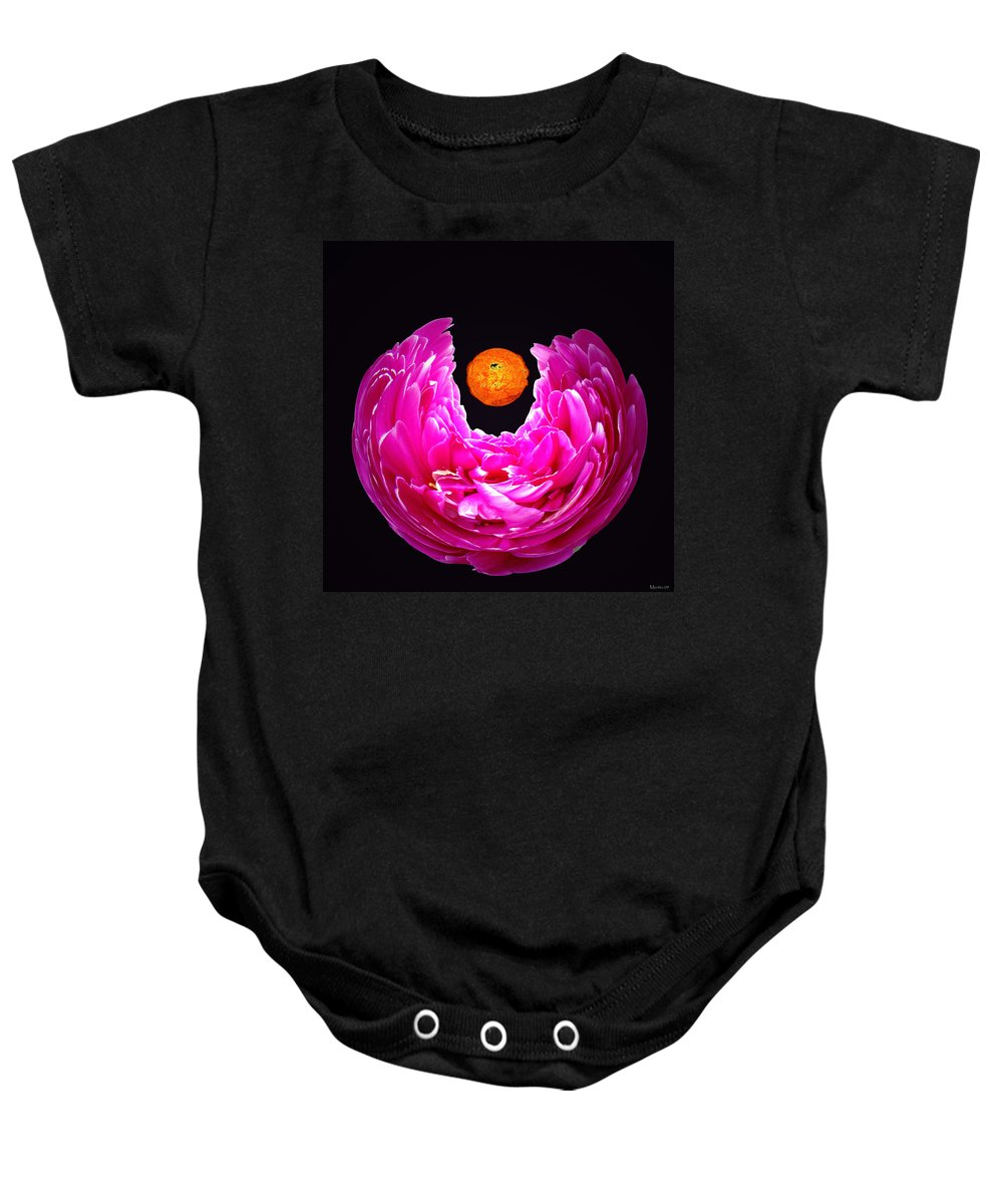 Peony Baby Onesie featuring the photograph Peony Sun by Merja Waters