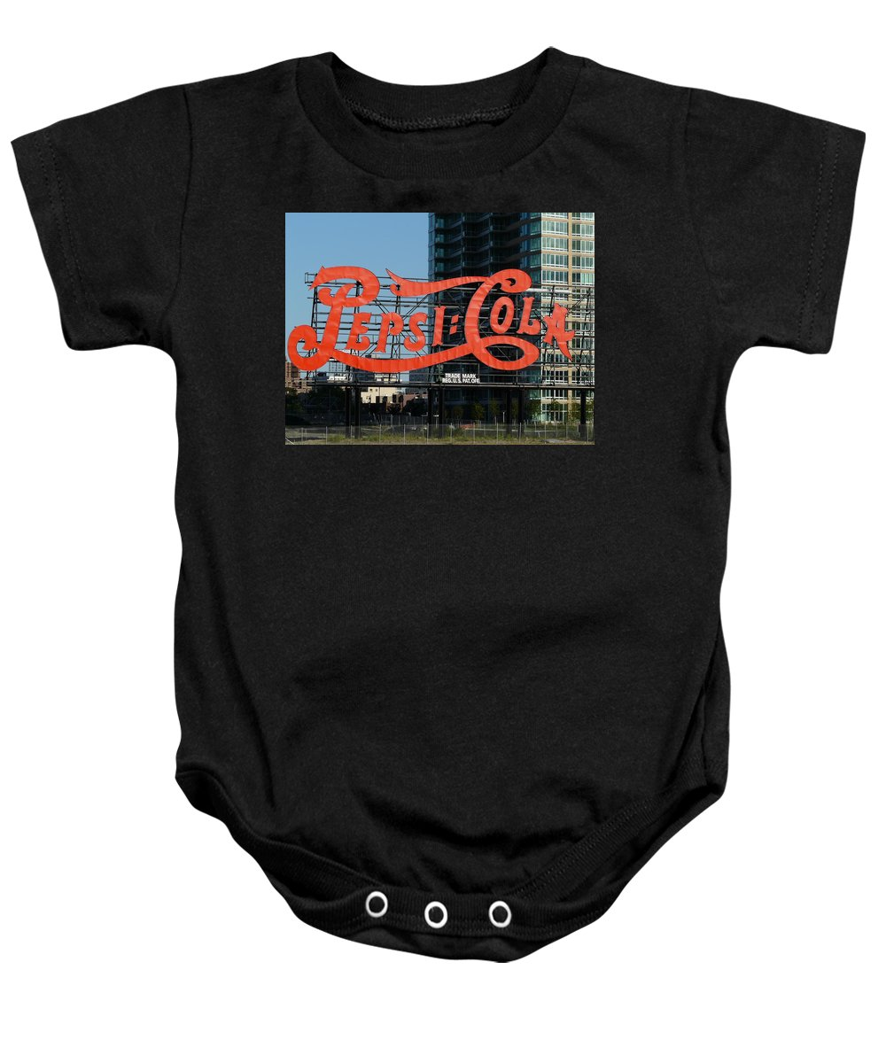 New York Baby Onesie featuring the photograph Pepsi-cola by Valerie Ornstein