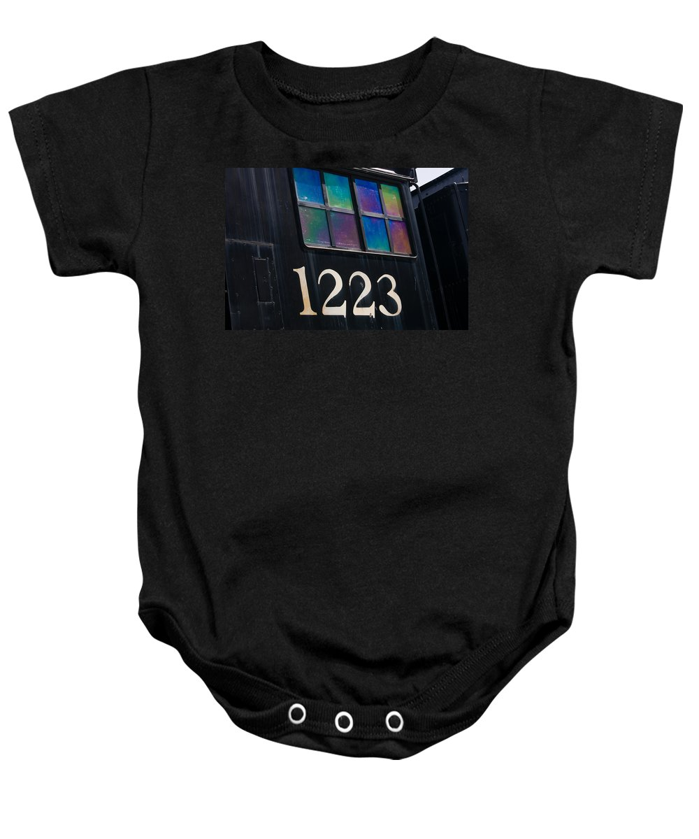 3scape Baby Onesie featuring the photograph Pere Marquette Locomotive 1223 by Adam Romanowicz