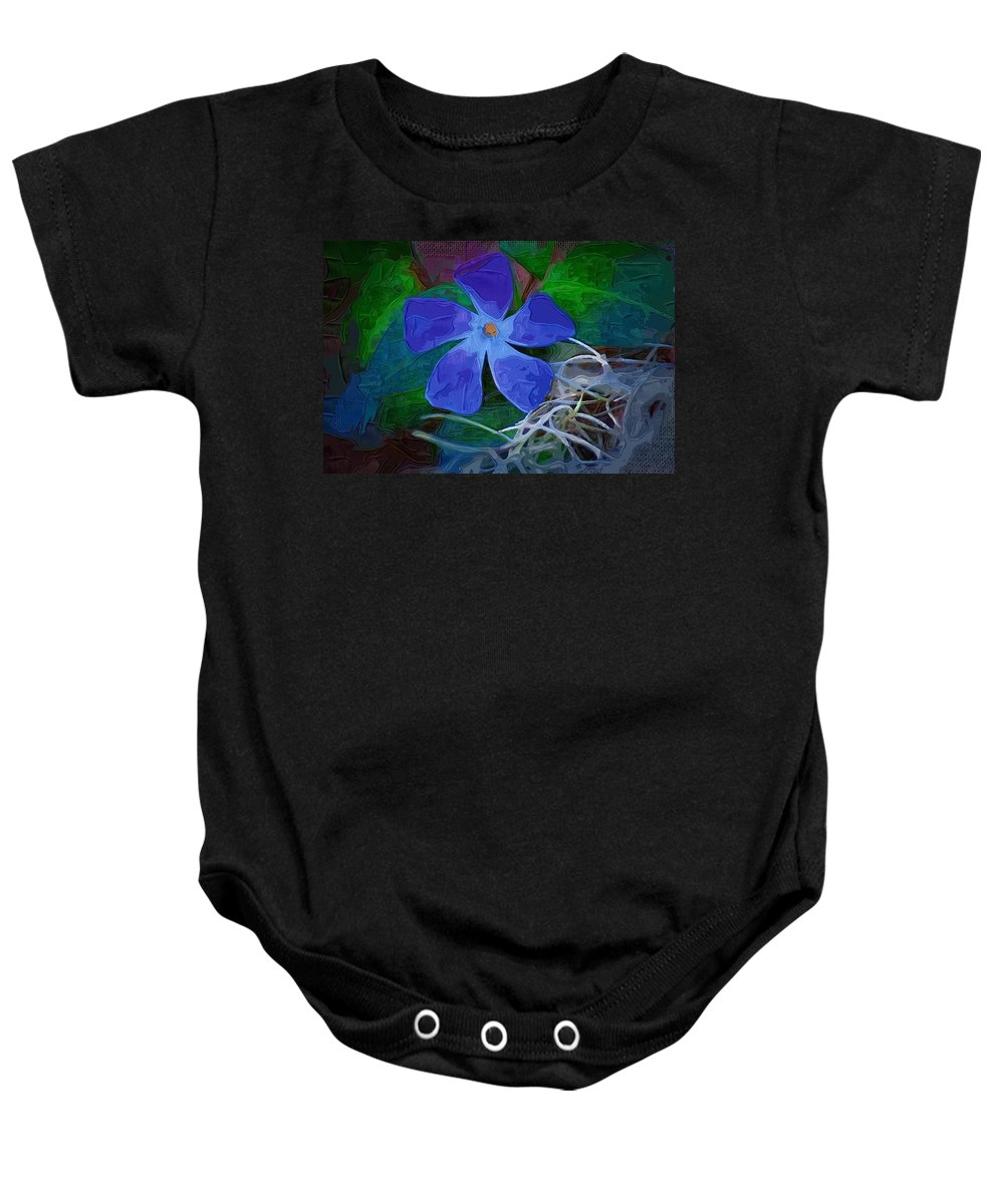 Flower Baby Onesie featuring the digital art Periwinkle Blue by Donna Bentley