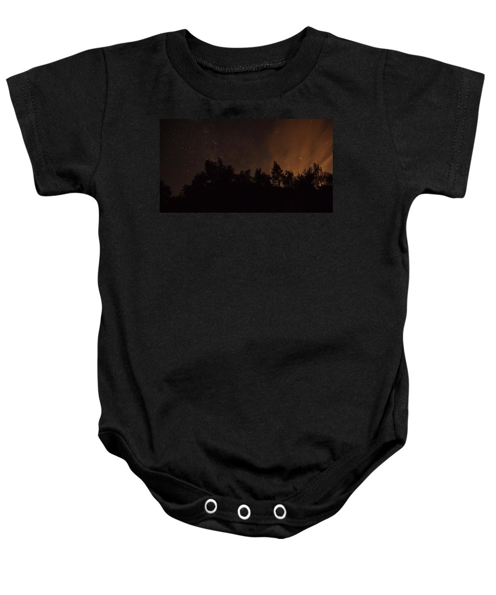 Photograph Of Perseid Meteor With Glow In The Mountains By Julian Ca Baby Onesie featuring the photograph Perseid Meteor Glow B by Phyllis Spoor