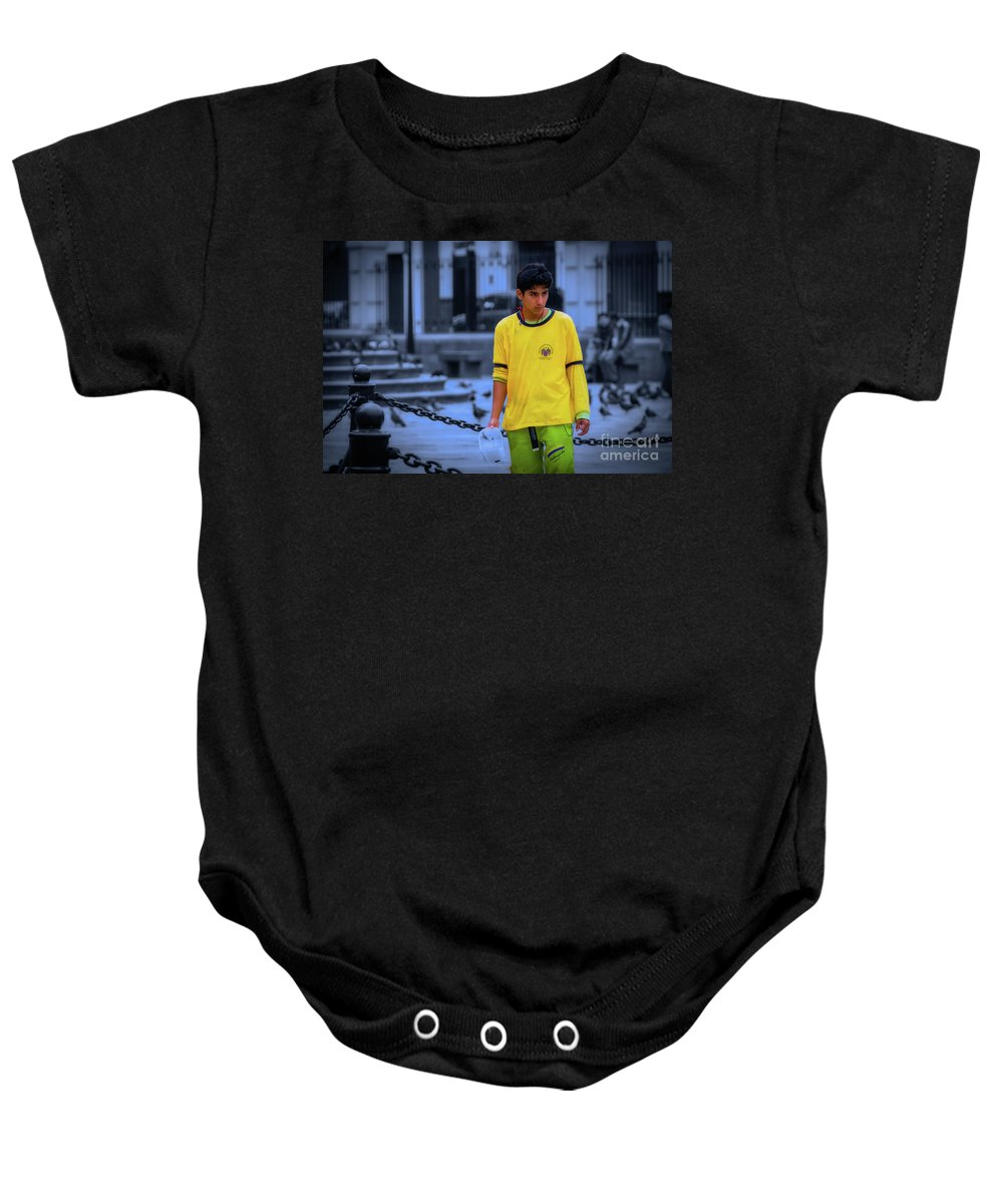 Lima Baby Onesie featuring the photograph Peruvian Boy by Doug Sturgess