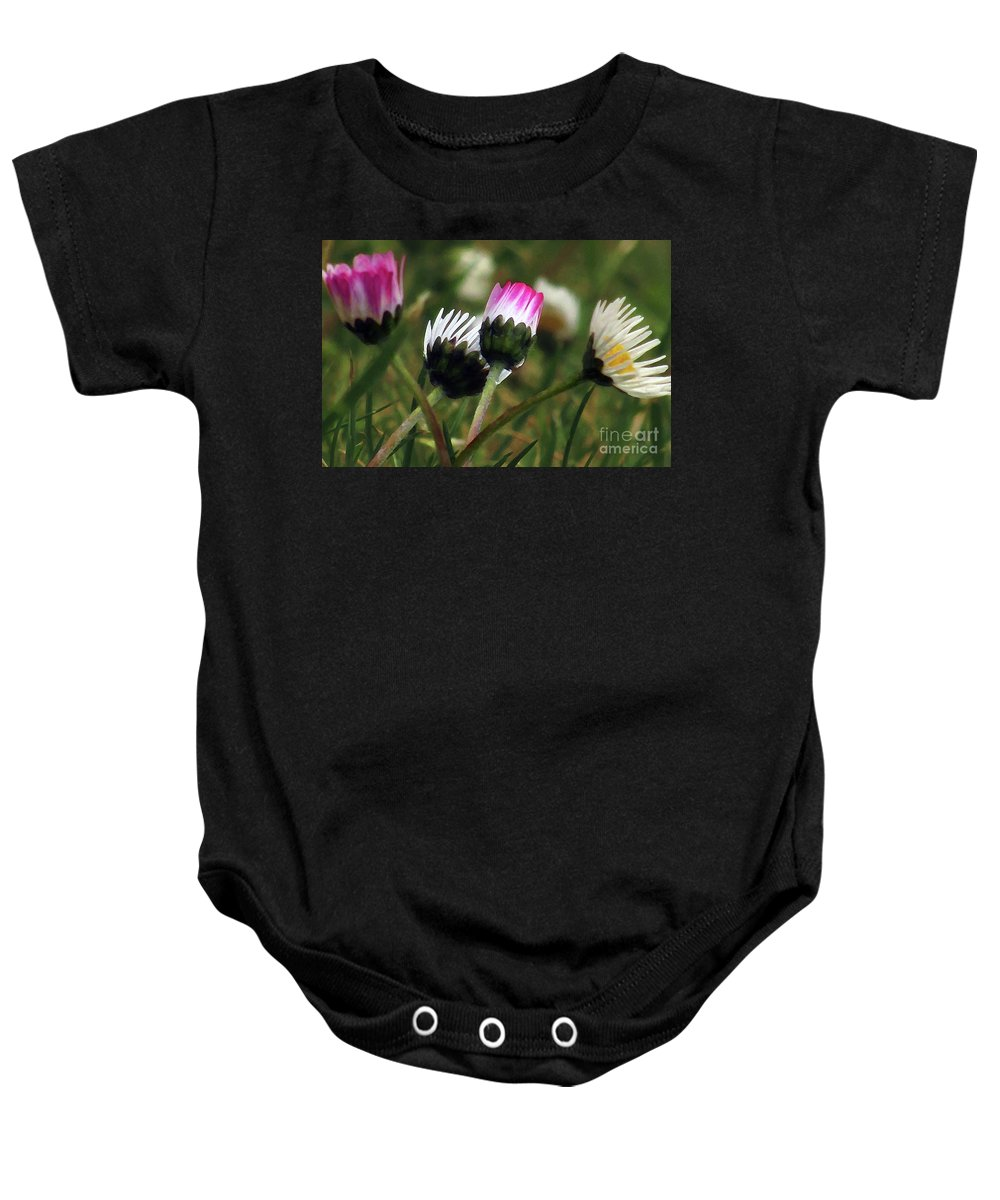 White Daisies Baby Onesie featuring the photograph Petite Daisies 2 by Kim Tran