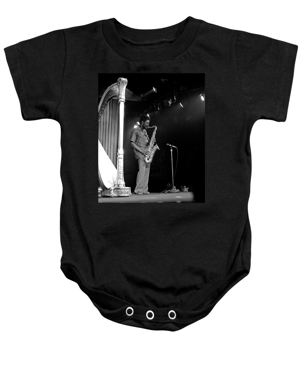 Pharoah Sanders Baby Onesie featuring the photograph Pharoah Sanders 5 by Lee Santa