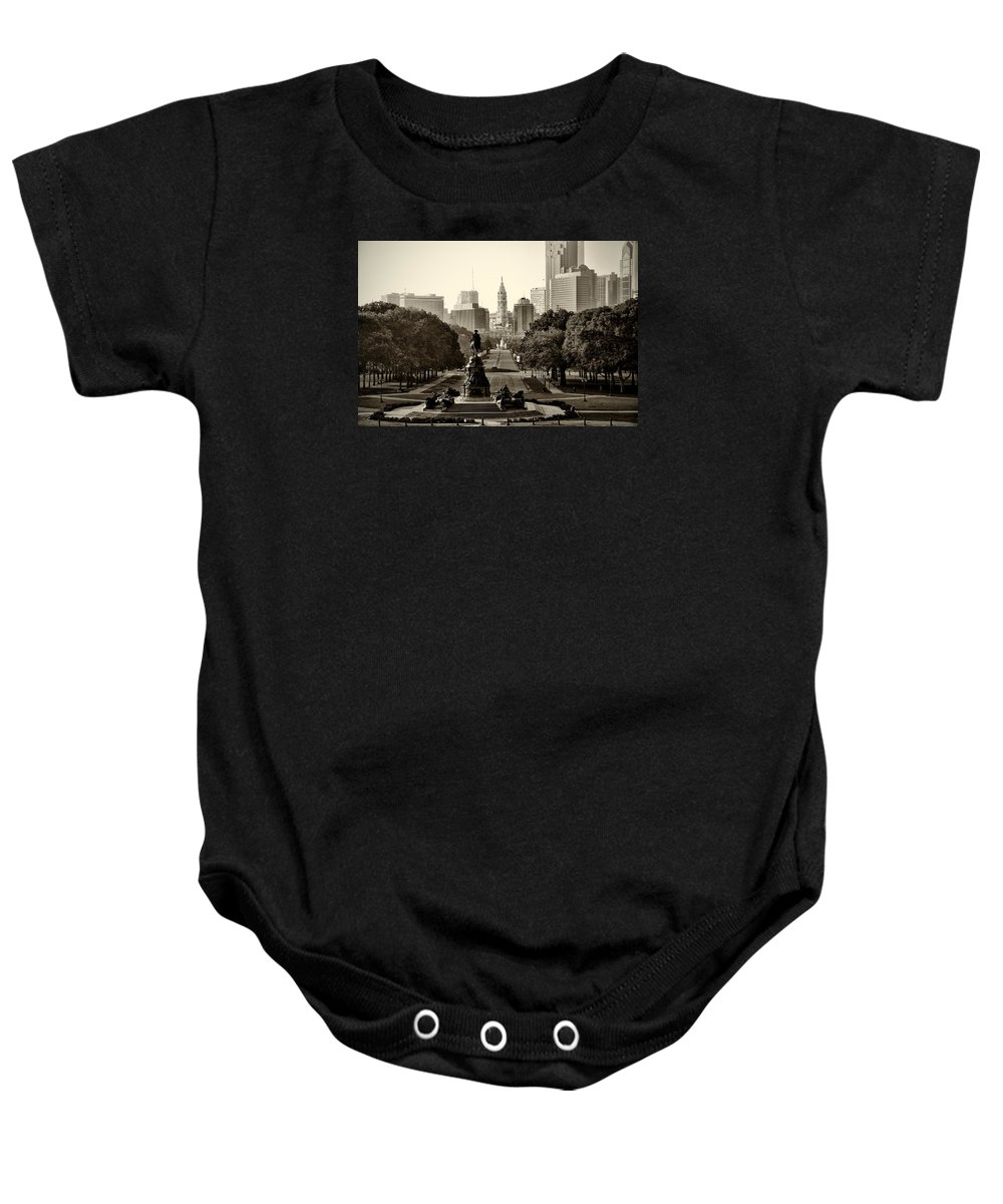 Philadelphia Baby Onesie featuring the photograph Philadelphia Benjamin Franklin Parkway In Sepia by Bill Cannon