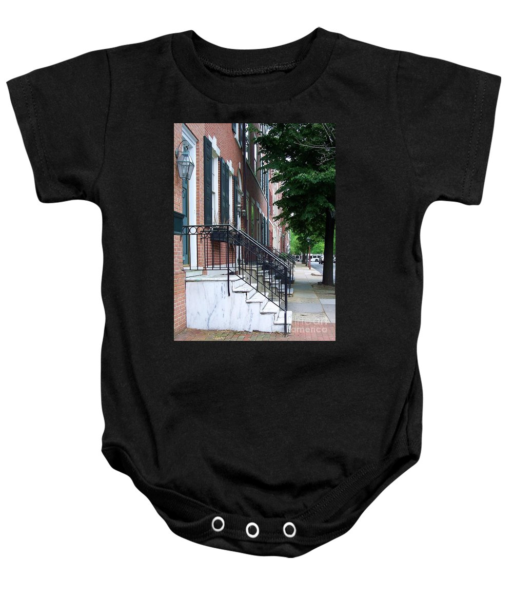 Architecture Baby Onesie featuring the photograph Philadelphia Neighborhood by Debbi Granruth