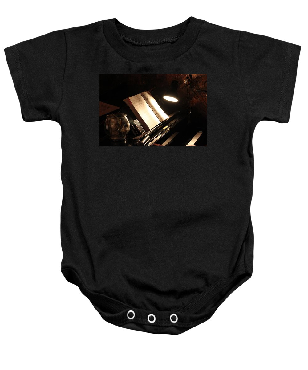 Piano Baby Onesie featuring the photograph Piano Bar by Lauri Novak