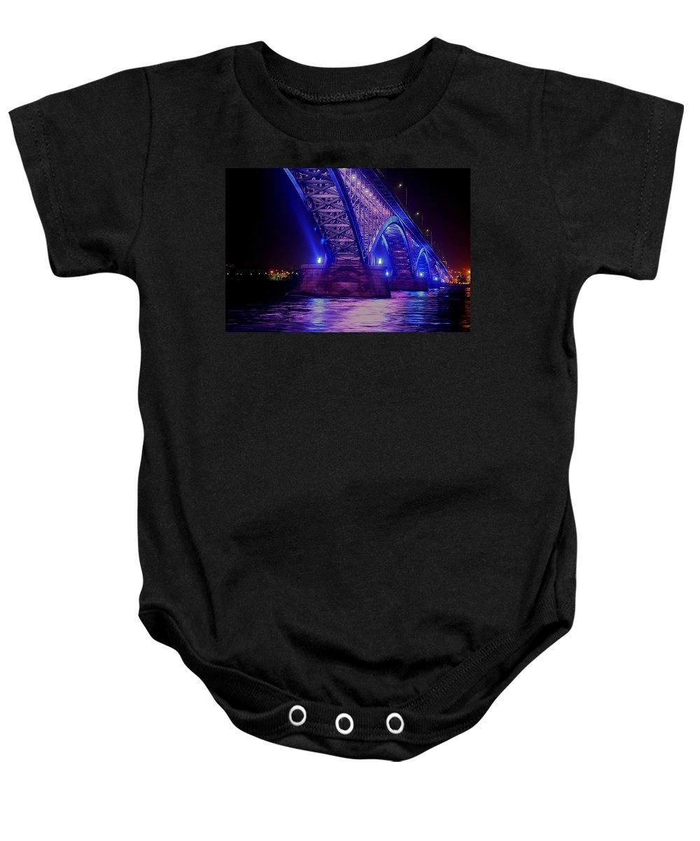 Piece Bridge Baby Onesie featuring the photograph Piece Bridge by Brian Mcmillen