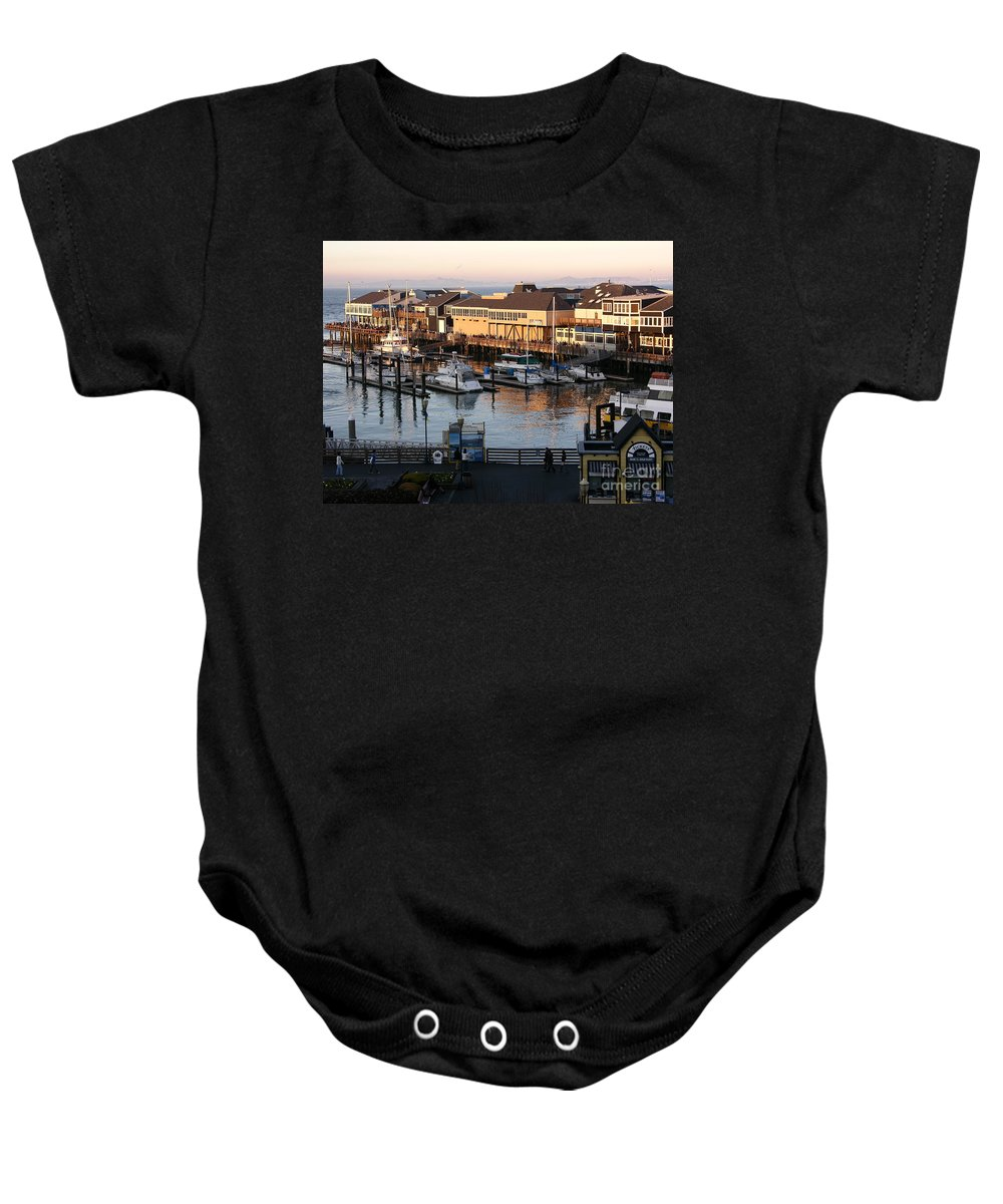 San Francisco Baby Onesie featuring the photograph Pier 39 In The Sunshine by Carol Groenen