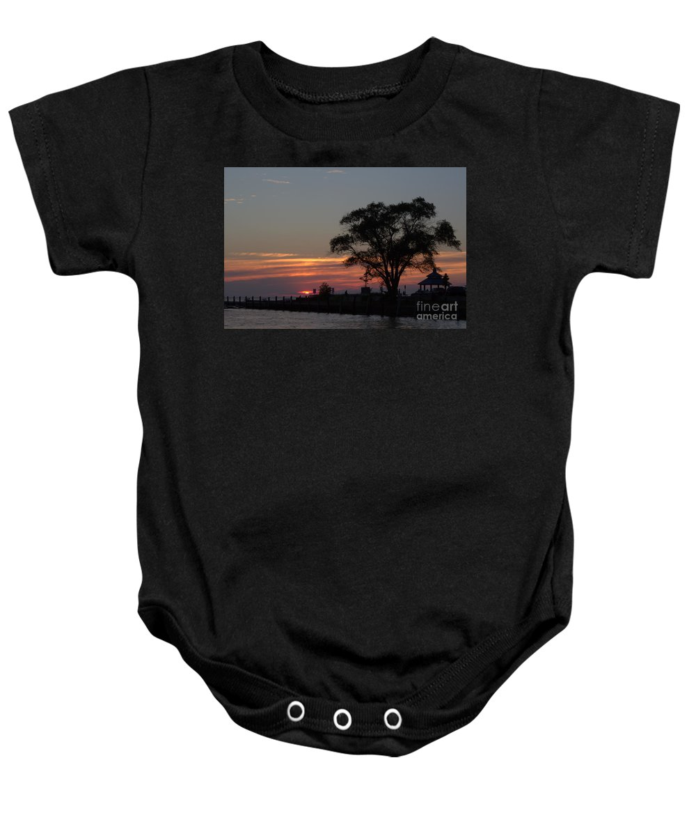 Grand Bend Baby Onesie featuring the photograph Pier A Long Way Out 5 by John Scatcherd