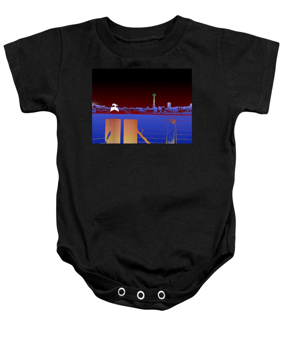 Seattle Baby Onesie featuring the digital art Pier With A View by Tim Allen